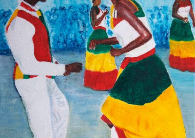 'Quadrille Dance' - Traditional Dance originating from French Cultural Traditions. Acrylic on Canvas. 20 x 35cm