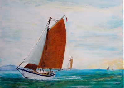 'The Island Regatta' Beach Built sloop. Private commission. Acrylic on canvas 30 x 25cm.