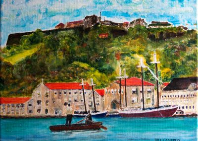 'The Ferryman' - A passenger is being rowed across the Carenage, St George's. Overlooking the scene is Fort St George, circa 1968. Acrylic on canvas 30 x 25cm