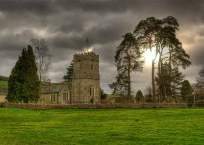 Dalwood Church with dog- A Devon Village