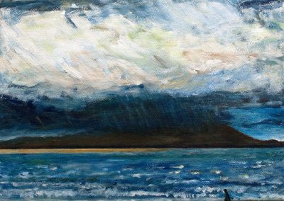 'A Walk on the Wild Side' - Stormy View Across the Solway Firth towards Criffel. Acrylic on Canvas. 40 x40cm