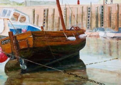 'Amelia' West Bay Harbour Dorset. Original Painting on Card. 30 x 40cm