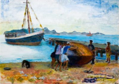 'Beached on Petit Martinique' - Locally Built Trading Sloop. Original Painting on card 40 x 30cm