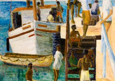 Carriacou Landing - Hillsborough Jetty. Original Painting on card 30 x 40cm
