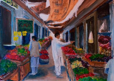 'Skardu Street Market' - North Pakistan. Acrylic on Canvas Weave. 40 x 30cm