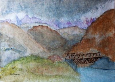 'Shigar Bridge' - North Pakistan. Acrylic on Canvas. 40 x 30cm