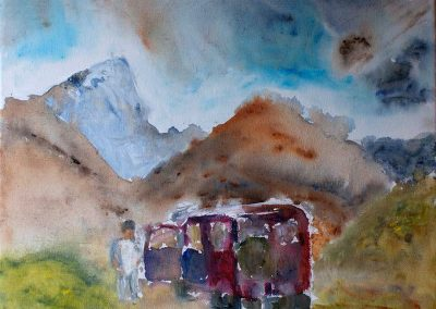 'Pit Stop' - Shigar Valley North Pakistan. Acrylic on Canvas. 40 x 40cm