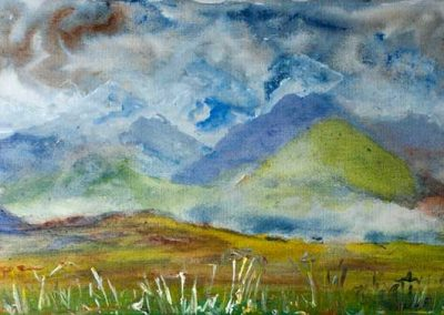 'Karakorum' - Shigar Valley. North Pakistan. Acrylic on Canvas. 60 x 25cm