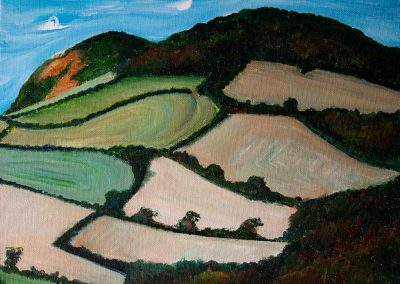 'Golden Cap and Langdon Hill from Chideock (1)'. Acrylic on Canvas frame. 30 x 24cm.