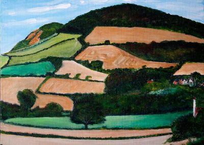 'Golden Cap and Langdon Hill from Chideock (2)'. Acrylic on Canvas frame. 30 x 24cm.