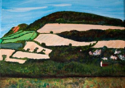 'Golden Cap and Langdon Hill from Chideock (3)'. Acrylic on Canvas frame. 30 x 24cm.