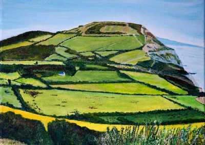 'Golden Cap from Stonebarrow (3)'. Acrylic on Canvas Frame. 30 x 25cm
