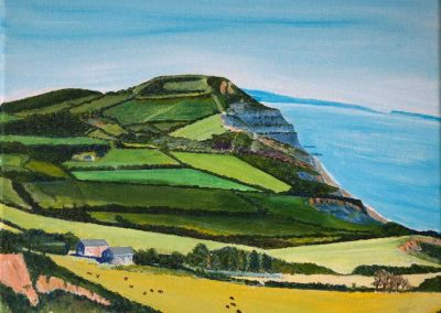 'Golden Cap from Stonebarrow (4)'. Acrylic on Canvas Frame. 30 x 25cm
