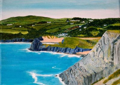 '3 Cliffs Bay South Wales' - Private Collection. Acrylic on Canvas. 30 x 25cm