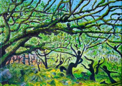 'Woodland Dance' (Spring Dawn). Acrylic on Canvas. 30 x 25cm.