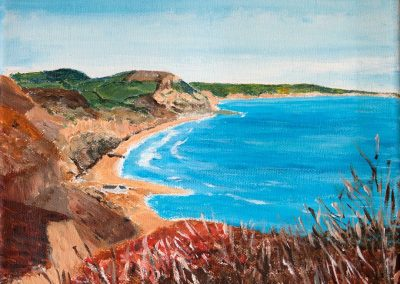 'Charmouth Beach from the Spittles'. Private Collection. Acrylic on Canvas Frame. 25 x 30cm