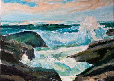 'Rocky Shore' Acrylic on Canvas Frame. 30 x 25cm
