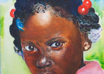 'Kenissa' - Carriacouan Girl. Acrylic on Canvas. 25 x 30cm.