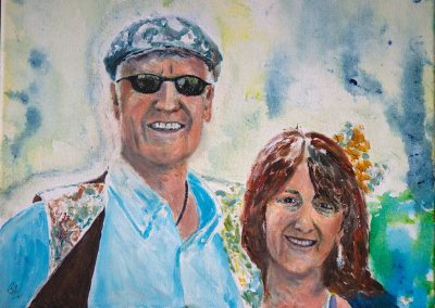 'Dick and Sharon' - Private Collection. Acrylic on Canvas. 30 x 25cm