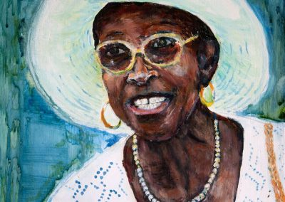 'Louise' - Retired Matron, Queen Elizabeth Hospital Carriacou. Acrylic on Canvas. 25 x 30cm.