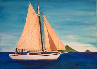 'Mermaid of Carriacou' - Sea Trials 1968. Acrylic on Canvas. 30 x 25cm