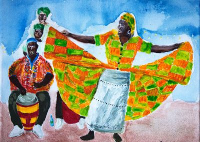 'Big Drum Nation Dance' - Music and Dance passed down through generations from West African Cultural Traditions. Acrylic on Canvas. 30 x 25cm