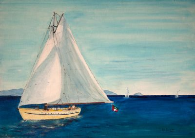 Summer Wind - Carriacou Sloop. Private Gallery. Acrylic on Card. 40 x 30cm