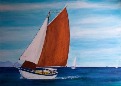 'Mermaid Under Sail' Acrylic on Canvas. 70 x 50cm