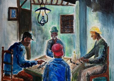 'The Domino School' - Well loved pastime played in Rum shops in Carriacou. Acrylic on Canvas. 30 x 25cm