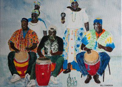 'Carriacou Carib Organisation' - Big Drum Band. Acrylic on Canvas. 30 x 25cm