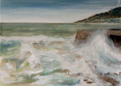 'Lyme Cobb' - Waves. Original Painting Acrylic on Canvas. 40 x 30cm