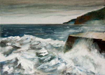 'Lyme Cobb' - Storm Brewing. Original Painting. Acrylic on Canvas. 40 x 30cm