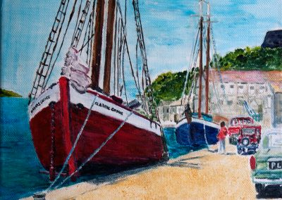 'Traders Choice' - Traditional Trading Vessels at the Carenage St george's Grenada 1968. Acrylic on Canvas. 30 x 25cm
