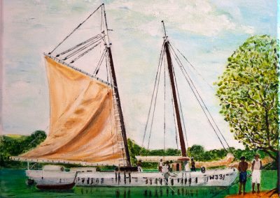 'Rebecca Mitchell' - Carriacou Trading Schooner with Giant Turtle. Private Commission. Acrylic on Canvas. 30 x 25cm