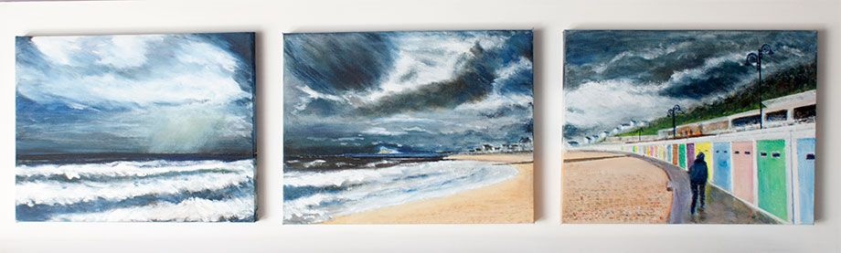 'Lyme Front - Storm Clouds'. Triptych Panorama. 3 canvasses in Acrylic mounted on board.