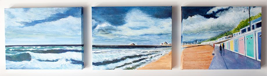 'Lyme Front - Evening Walk'. Triptych Panorama. 3 canvasses in Acrylic mounted on board.