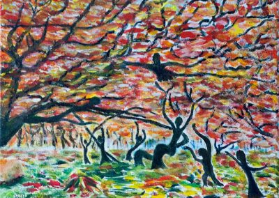'Woodland Dance' (Autumn). Acrylic on Canvas. 30 x 25cm.