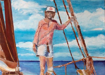 'Captain John Smith Aboard Mermaid' - Portrait circa 1996. Acrylic on Card. 30 x 40cm