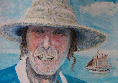 'John Smith' - Captain of Mermaid. Acrylic on Card. 30 x 40cm.