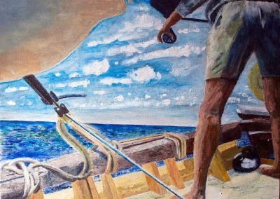 Barracuda Fishing - John Smith on Mermaid. Original painting on card. 40 x 30 cm