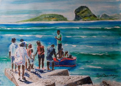 'Beach Party' - Departure. Original Painting on Card. 40 x 30 cm.