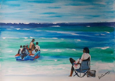 'Beach Party' - Return Home. Original Painting on Card. 40 x 30cm