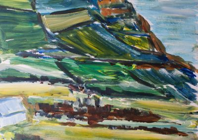 'Golden Cap from Stonebarrow (2)'. Original Painting, Acrylic on Card. 30 x 40cm