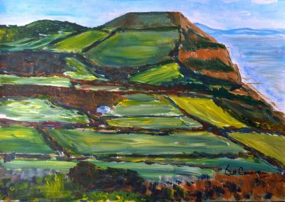 'St Gabriels and Golden Cap'. Original Painting, Acrylic on Card. 40 x 30cm