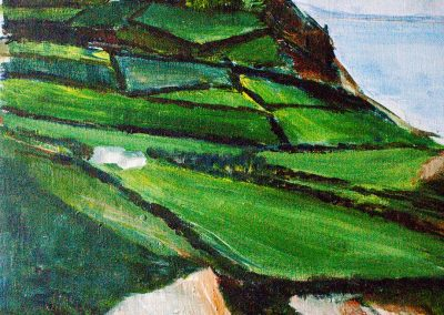 'Golden Cap from Stonebarrow' (1) - Original Painting on Card. 30 x 40cm