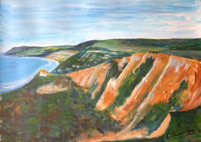 'Charmouth and Lyme Regis from Stonebarrow'. Original Painting on Card. 40 x 30cm