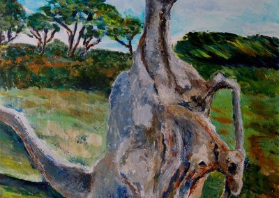 'Mother and Calf' - Bizarre tree stump at Stonebarrow. Acrylic on Card. 40 x 30cm.