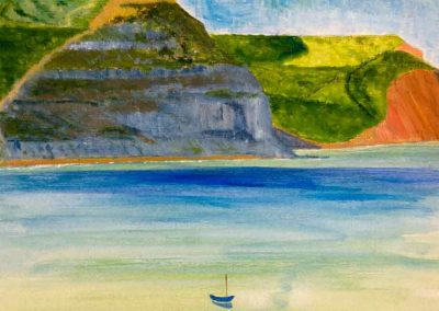 'Golden Cap' - from Lyme Regis. Original Painting on Card. 30 x 40cm.