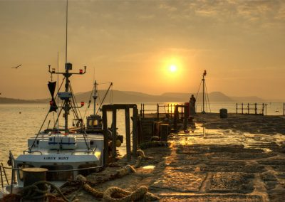 Greeting the Dawn - Lyme Regis Harbour - Dorset Moods