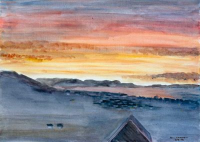 'Lyme Bay Sunrise' (2) - Original Painting on Card. 40 x 30cm.